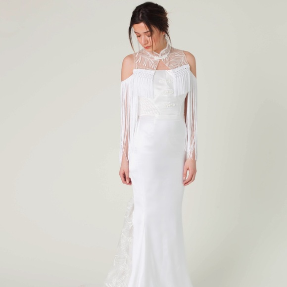 Fringe off shoulder mermaid wedding gown